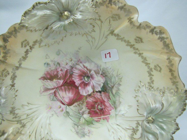 """17: RS Prussia 10.5"""" Carnation mold satin floral bowl w"""