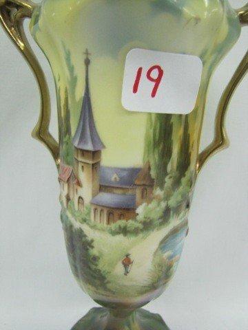 "19: RS Prussia 8"" Castle scene 2 handled vase `"