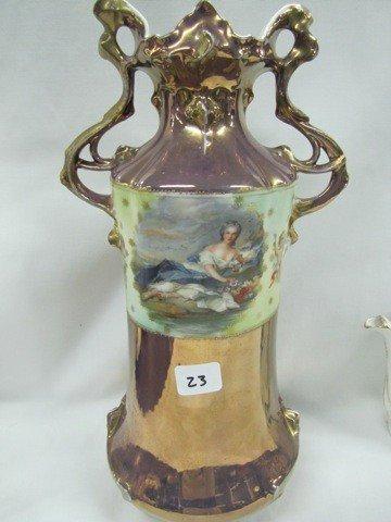 "23: RVG 13"" 2-handled vase w/Reclining Flora & Diana th"
