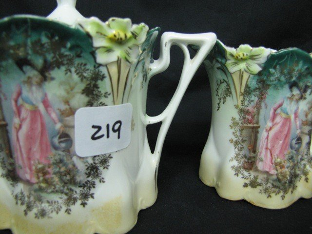 219: UM RSP Lily mold cream/sugar Lady Watering Flowers