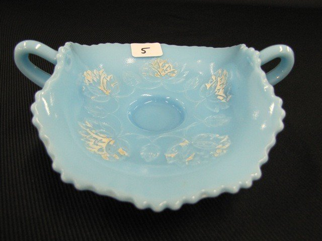 """5: Fenton 7"""" Persian blue Pond Lily 2-handled card tray"""