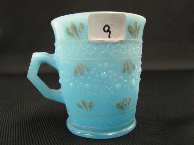 9: Fenton Persian blue painted Orange Tree mug