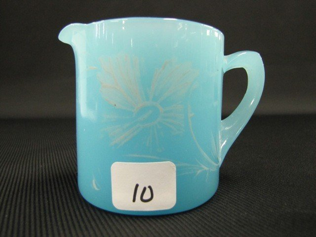 10: Fenton Persian blue painted cream & sugar
