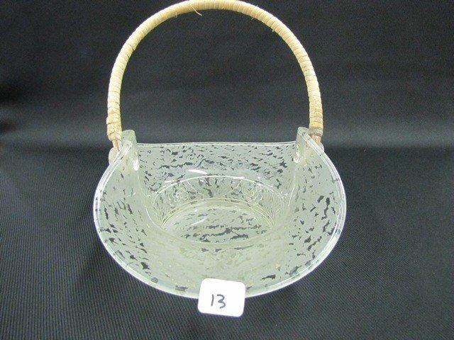 """13: Fenton Ming 9"""" handled basket"""