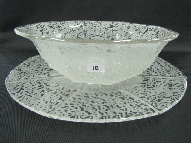 "18: Fenton Ming 9"" octagon bowl w/matching underplate"