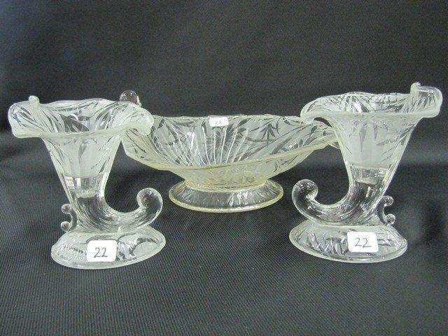 22: Fenton Poinsettia etched console bowl and cornucopi