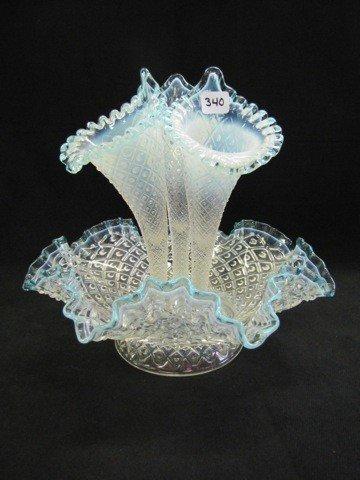 340: Fenton French opal Diamond Lace Epergne large 3 li