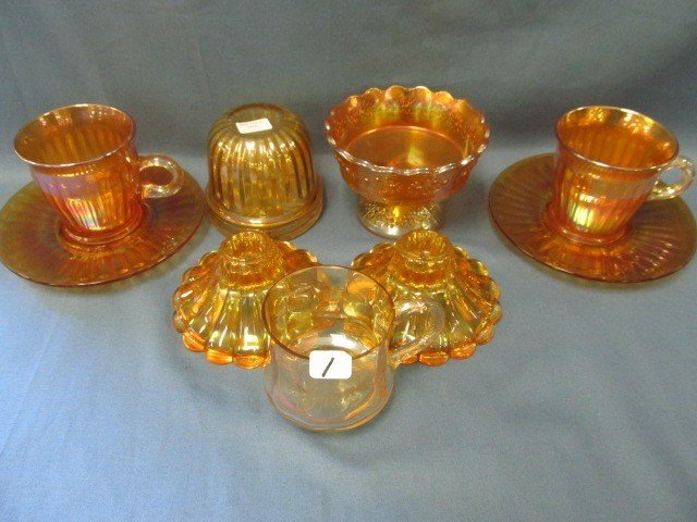 1: box lot 6 pcs Carnival Glass-see pictures