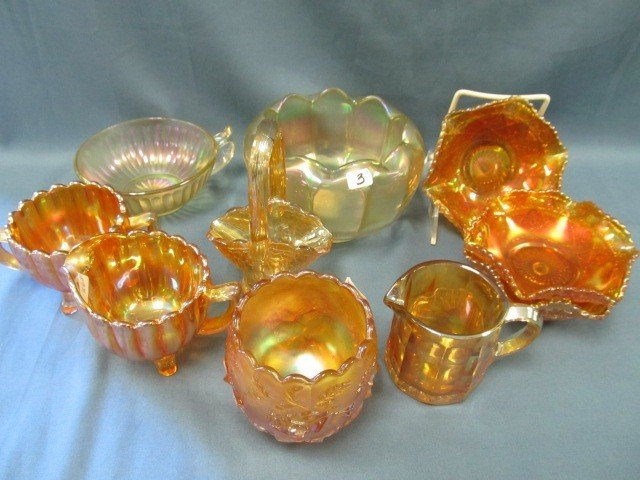 3: box lot 10 pcs Carnival Glass-see pictures