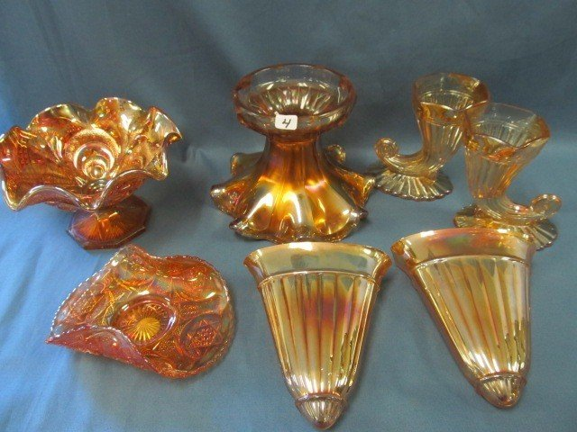 4: box lot 7 pcs Carnival Glass-see pictures