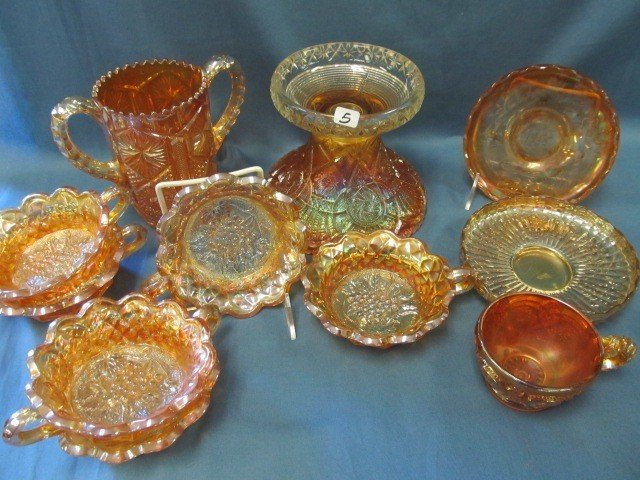 5: box lot 11 pcs Carnival Glass-see pictures