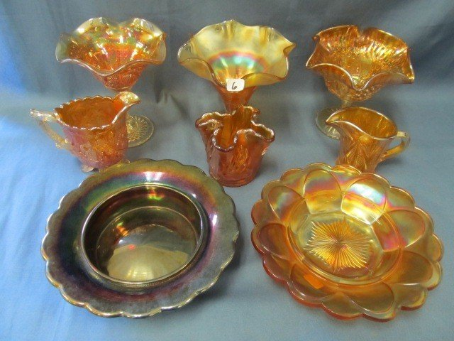 6: box lot 8 pcs Carnival Glass-see pictures