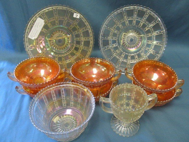 7: box lot 10 pcs Carnival Glass-see pictures