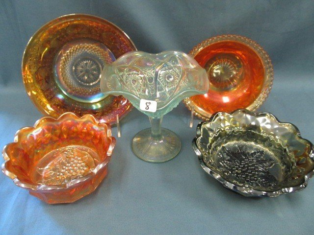 8: box lot 5 pcs Carnival Glass-see pictures
