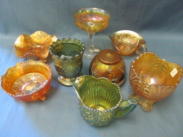 10: box lot 8 pcs. Carnival Glass-see pictures