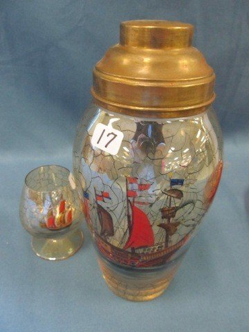 17: Czech shaker w/1 brandy painted masted ship