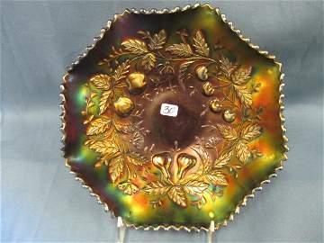"30: Nwood 9"" purple Fruits & Flowers ruffled bowl"