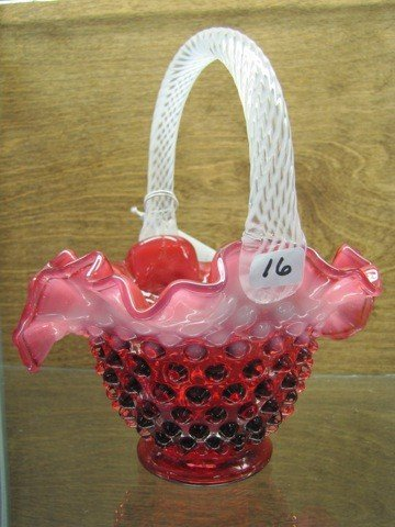16: French opalescent  cranberry hobnail basket 7 1/2""