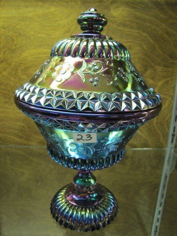 23: Amethyst carnival glass covered comport 9""