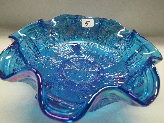 5: Fenton blue Fantail bowl