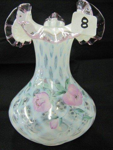 "8: Fenton 7 1/2"" lavender crest HP vase-Robinson"