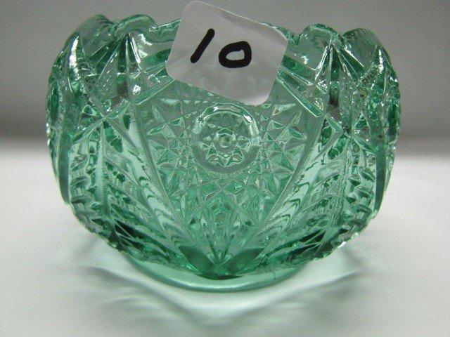 10: Fenton green geometric rosebowl