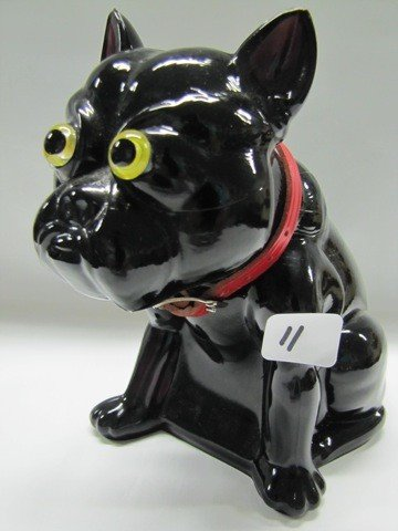 11: black bull dog doorstop w/collar & glass eyes