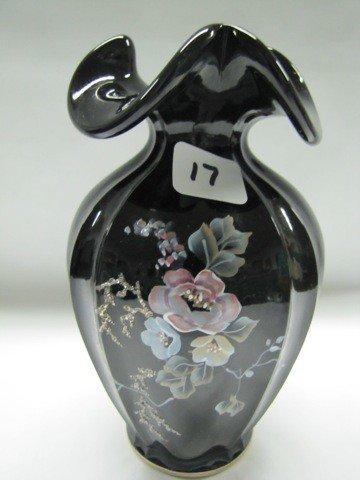 "17: Fenton 7"" HP ebony vase"