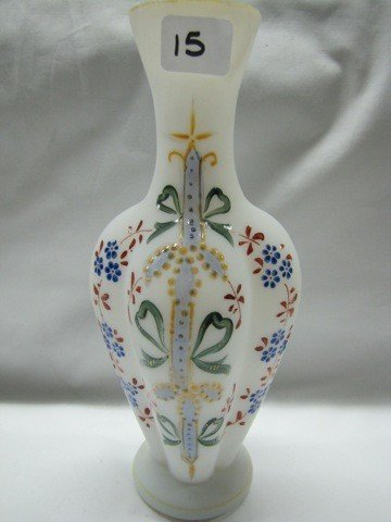 "15: Fenton 9"" ribbed HP vase"
