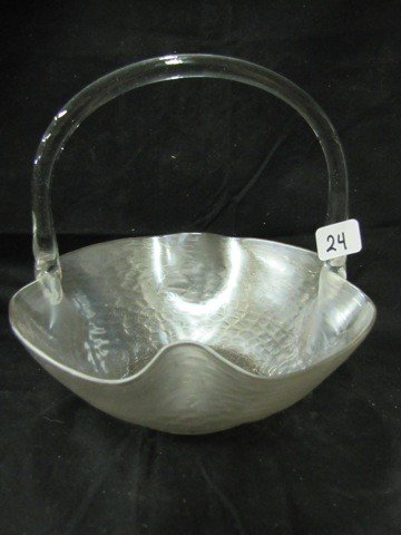 24: art glass handled basket q