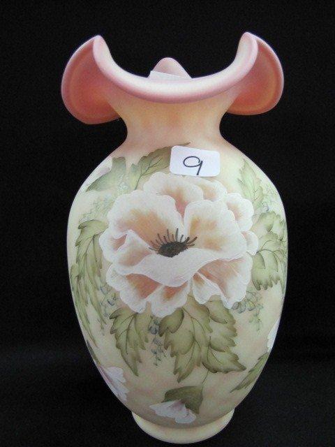 """9: Fenton 9"""" HP burmese vase"""