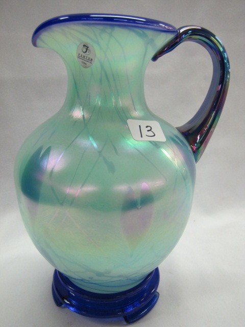 "13: Fenton Dave Fetty 8"" Hanging Heart water pitcher on"