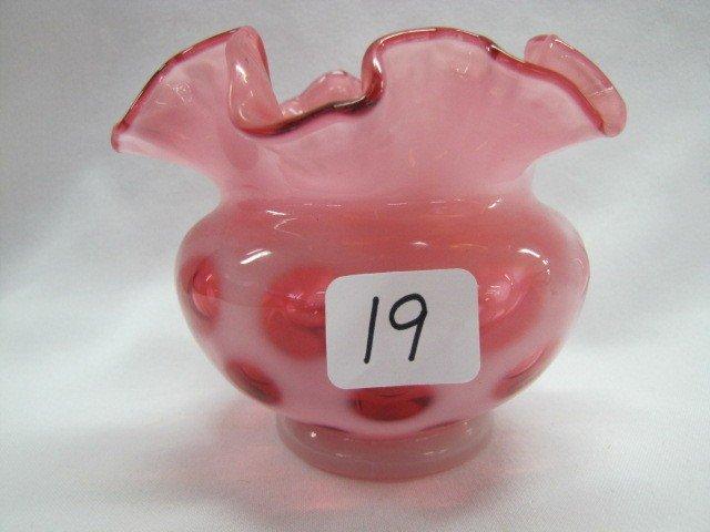 "19: Fenton 3 1/2"" cranberry opal rosebowl"