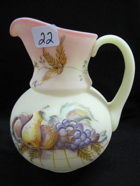 "22: Fenton 7"" HP burmese pitcher w/fruit"