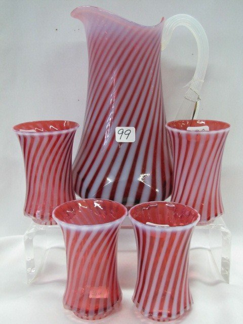 99: Fenton cranberry opal 5 pc. water set
