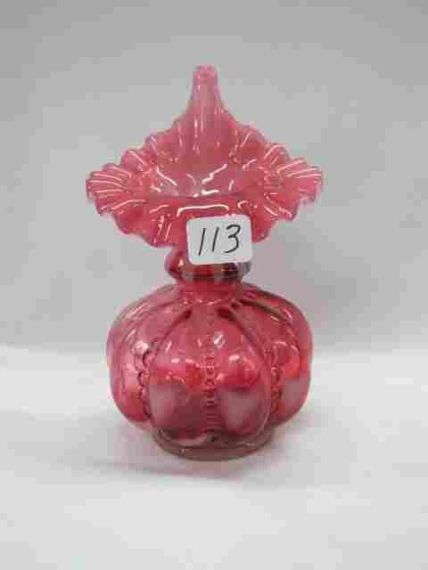 """Fenton 7"""" cranberry opal JIP vase"""