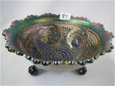 87: Fenton blue Horse Head Medallion nut bowl