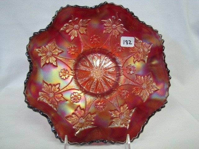 "182: Fenton 10"" RED Little Flowers ruffled bowl. GREAT!"