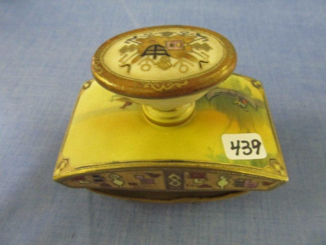 439: Nippon Indian in Canoe desk set, GWM with blotter-