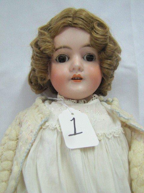 """1: 28"""" GERMANY porcelain doll, 4 teeth brown sleep eyes"""