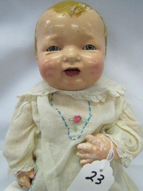 """23: 18"""" Effanbee Doll 1924, Baby, 2 teeth, blue sleep e"""