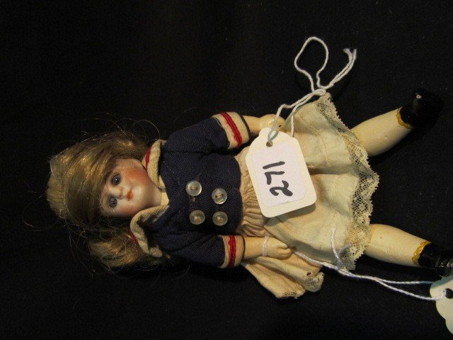 """271: 7"""" Bisque Doll  with Sailor Outfit"""