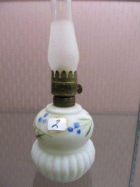 2: Mount Washington Hand Painted Mini Oil Lamp. Blue Fl