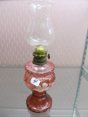 4: Cranberry Hand painted Mini Oil Lamp