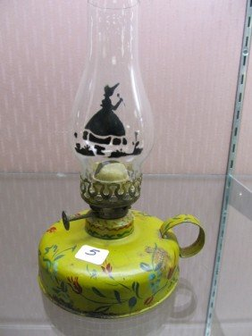 Mini Tin Painted Chamber Lamp With Silohuette Painte