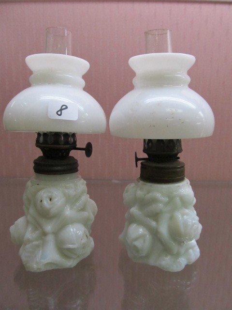 8: Pair of Embossed Roses Milk Glass Mini Oil Lamps wit