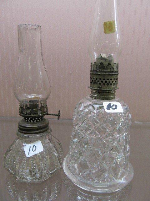 10: (2) EAPG Clear Mini Oil Lamps