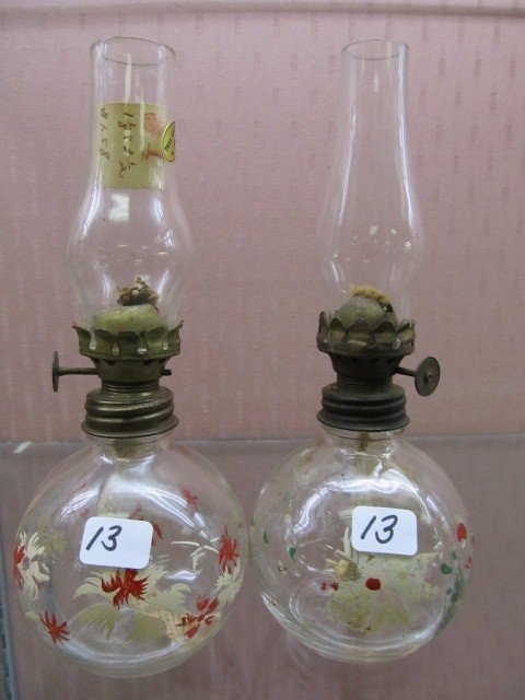 13: Pair of Hand Painted Ball Shaped Mini Oil Lamps Som