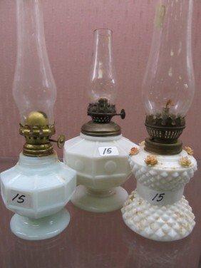 15: Set of 3 Early Milk Glass Mini Oil Lamps