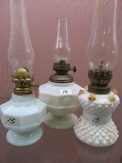 15: Set of 3 Early Milk Glass Mini Oil Lamps